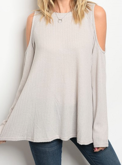 Long sleeve GRAY knit top that features a rounded neckline and cold shoulders