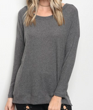 Cozy Ribbed Top - Gray