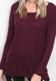 Cozy Ribbed Top - Wine
