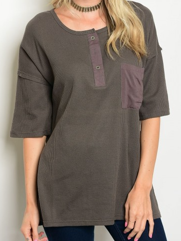 Smoke Olive Pocket Top
