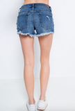 Plaid Pocket Distressed Denim Shorts