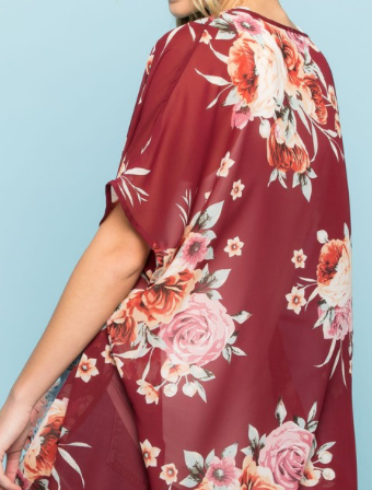 At The Resort Floral Kimono - Burgundy