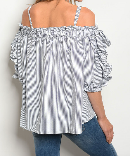 Stripe Layer Sleeve Off Shoulder Top