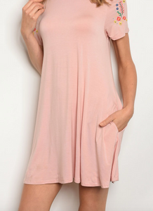 Floral Threads Blush Tunic With Pockets