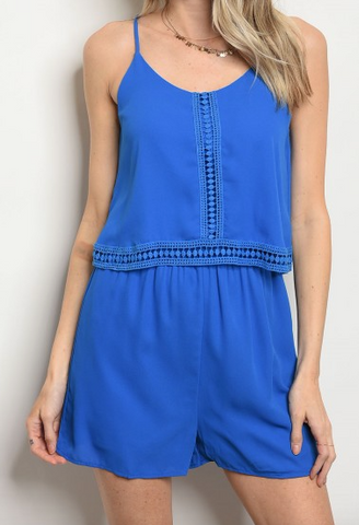 June Royal Blue Romper