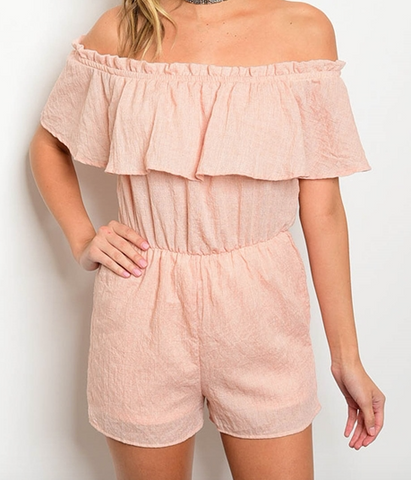 Off Shoulder Flutter Romper - Blush