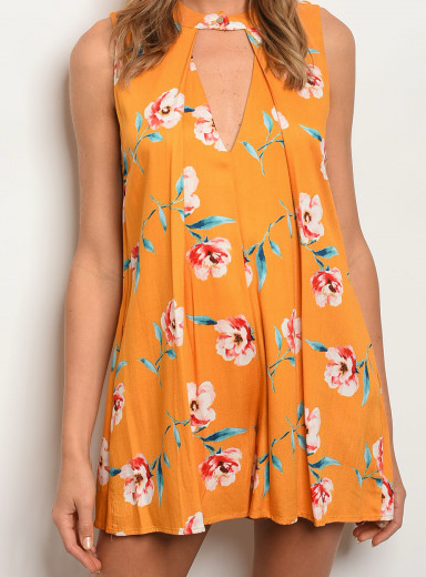 Clementine Floral Keyhole Romper - Yellow