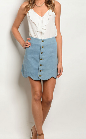 Zelie Scallop Button Skirt