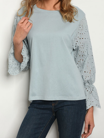 Tate Blue Bell Sleeve Top