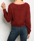 Level Up Cropped Sweater - Crimson