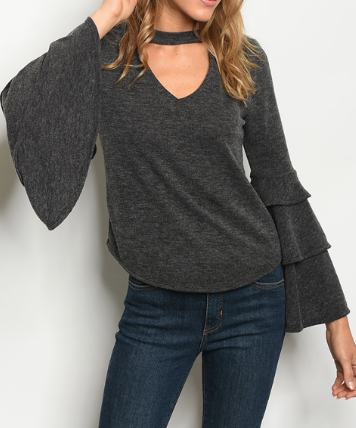 Plot Twist Layer Top - Charcoal
