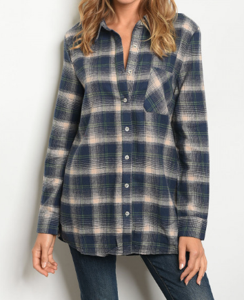 Harvest Zip Back Plaid Top - Navy