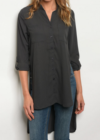 Slit Side Button Down Top - Charcoal