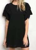 Isla Ruffle Sleeve Dress - Black