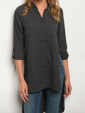 Slit Side Bottom Tunic - Charcoal