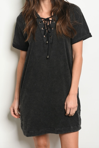 Faded Tie Dress - Black