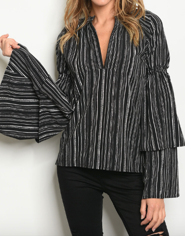 Lately Bell Sleeve Top - Black