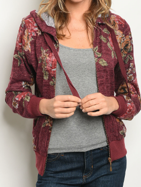 Softest Floral Jacket - Crimson