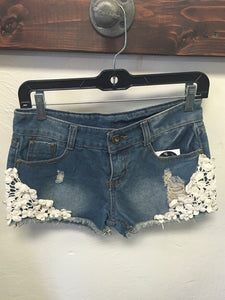 Lace Dark Denim Shorts