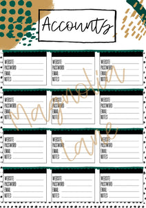 image about Password Printable named Account Pword Printable