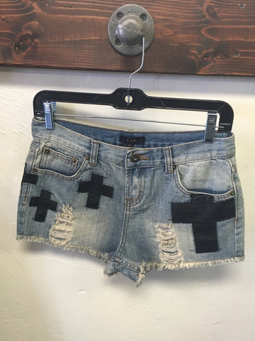 Cross Distressed Denim Shorts