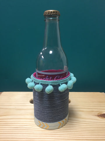 handcrafted denim pom pom arrow funky koozie