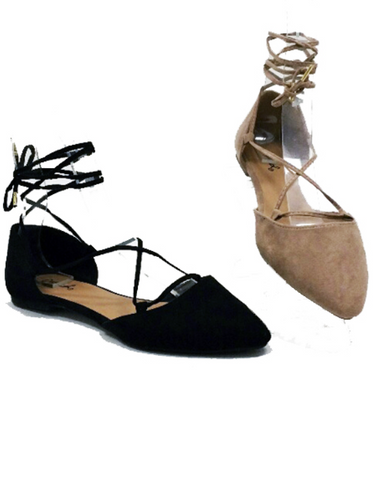 Black Pika Lace Up Ballerina Flats