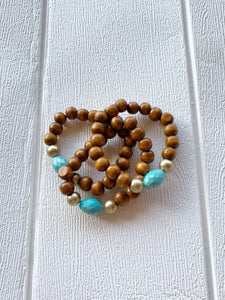Handcrafted Bracelet - Wooden Turquoise Gold