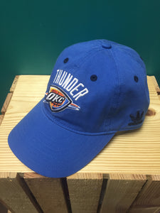 blue oklahoma city thunder baseball cap hat with logo embroidered on the front adidas