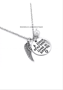 a piece of my heart lives in heaven silver necklace