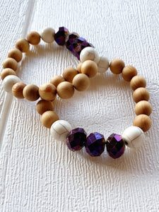Diffuser Bracelet - Wood Stone Purple