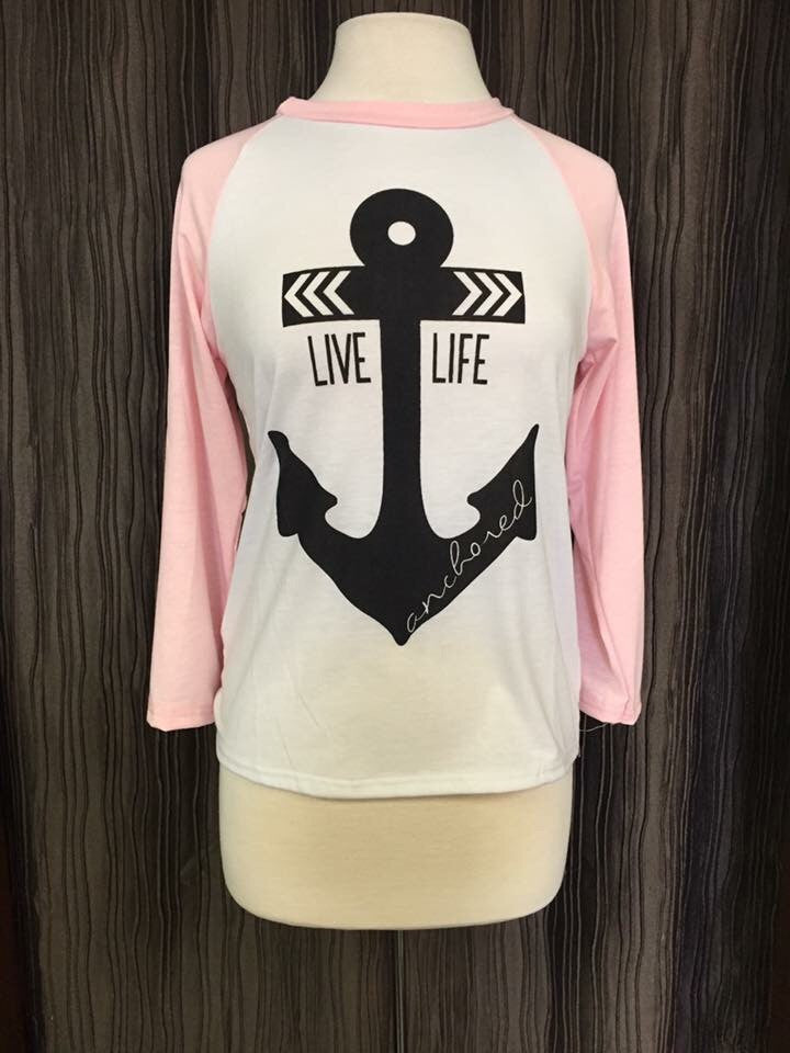 Live Life Anchored Baseball Tee