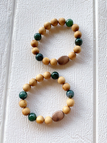 Diffuser Bracelet - Wood Metal Greens