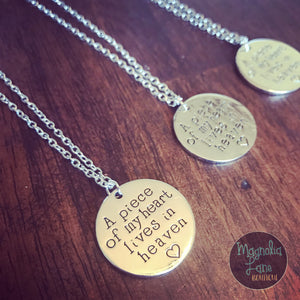 A Piece Of My Heart Lives In Heaven Necklace PREORDER