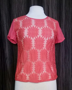 Oopsy Daisy Coral Sheer Top