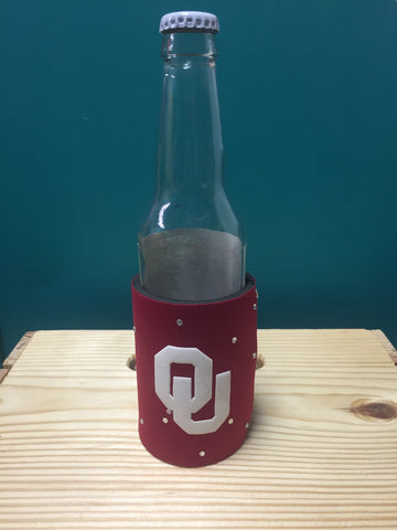 crimson OU logo koozie with bling