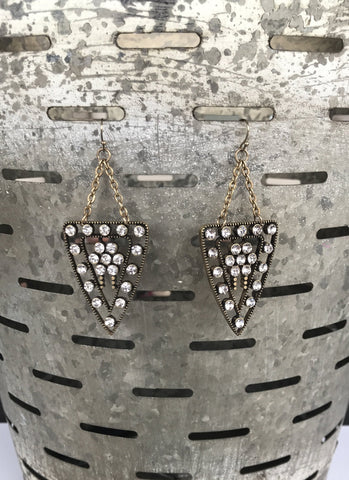 Tri Glam Drop Earrings