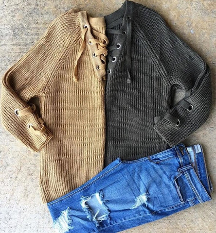 Chunky Knit Lace Up Sweaters