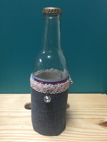 Handcrafted Denim Lace Funky Junk Koozie