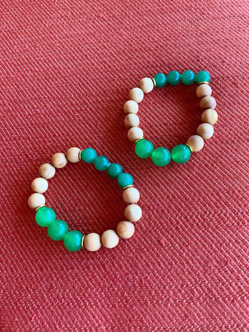 Diffuser Bracelet - Wooden Green Gold
