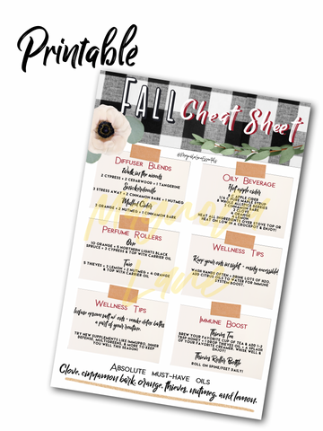 Fall Cheat Sheet Printable - Young Living