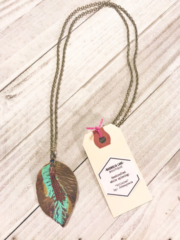 Patina Leaf Tassel Necklace