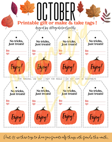 October Tags Printable