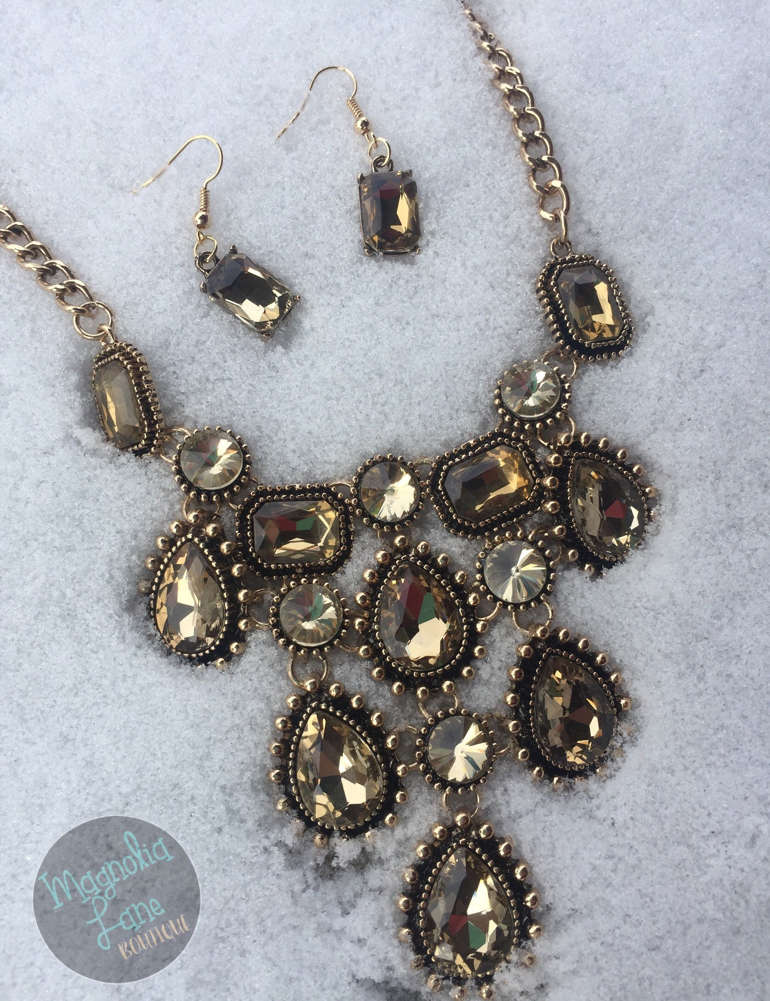 Jewel Statement Necklace and Earring Set