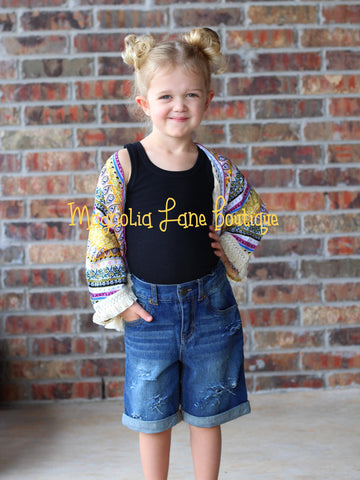 Unisex Kids Distressed Denim Shorts