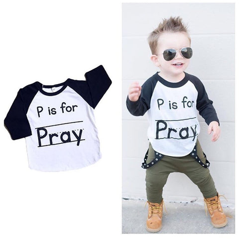 """P is for Pray"" Kids 3/4 Raglan"