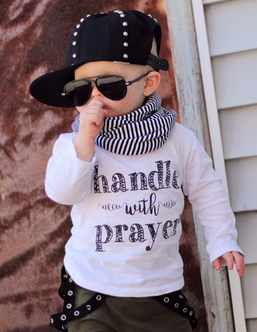 """Handle with Prayer"" Tee + Onesie (White, Pink, Grey)"