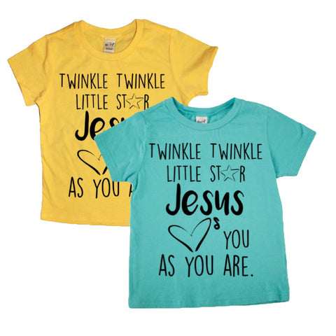 Jesus Loves You Tee (Yellow, Caribbean Blue) - Twin Rivers Clothing Co.