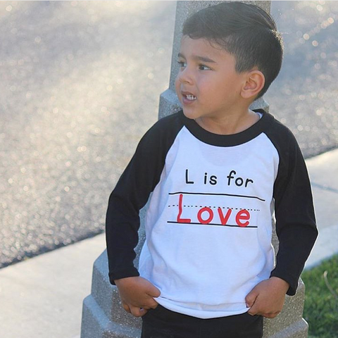 """L is for Love"" Kids 3/4 Raglan"