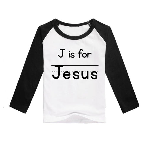 """J is for Jesus"" Kids 3/4 Raglan - Twin Rivers Clothing Co."